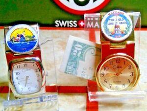 COLIBRI MONEY CLIP WATCH COLORIZED STATE QUARTER of  LOUISIANA  GOLD OR SILVER