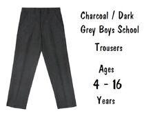 Ex-Store Boys Charcoal Dark Grey Black School Trousers Age 3-13 Adjustable Waist