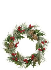 "Pine Cone & Holly Berry 23"" Christmas Wreath"