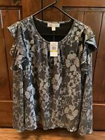 NWT MICHAEL KORS Women's Size L Cold Shoulder Long Bell Sleeve Black/Silver Top