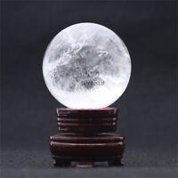 260g Natural Quartz Clear Crystal Ball Sphere Healing Reiki Gemstone + Stand