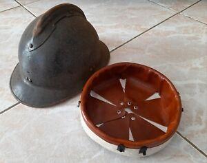 WW2 coiffe cuir marron+agrafes intérieur casque Adrian m.1926 helmet liner t.56