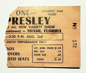 Elvis Presley - RARE TICKET STUB - August 3, 1956 - Miami,  FL - Olympia Theater