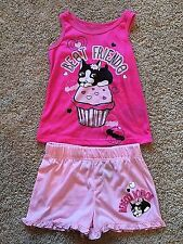 NWT Girls Pink 2pc Sleeveless Sleep Top Shorts Rebecca Bonbon XS 4/5