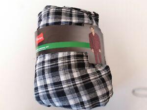Hanes Men's XXL 44-46 Waist Black White Flannel Pajama set