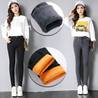 Women Jeans Slim Fleece Lined Thick Thermal Warm High Waist Stretch pencil pants