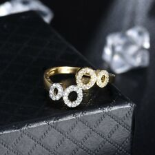 Exquisite Women Infinity Wedding Cubic Zirconia Adjustable Gold Ring Jewelry