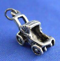 Baby Buggy Stroller Sterling Silver 3D Bracelet Charm Pendant Embellishment 925