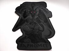 BAPHOMET GOAT  BLACK IN BLACK SHAPED RED EYES   EMBROIDERED BACK PATCH