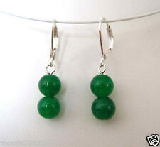 New 10mm natural green jade gemstone beads Silver Leverbacks Dangle Earrings