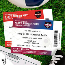 PERSONALISED FOOTBALL TICKET STYLE PARTY INVITATIONS   ANY TEAM!   KIDS/ADULTS!