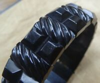antique Victorian WHITBY JET carved panel bead mourning bangle bracelet -A454