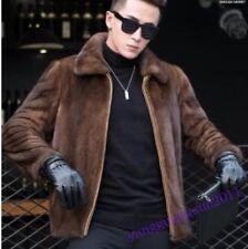 New Fashion Men Mink Fur Coat Furry Thicken Winter Warm Jacket Outwear Parkas Sz