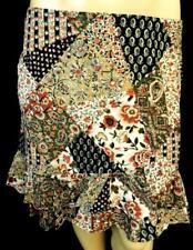 Chaps brown beige floral elastic waist tiered flutter hem high low skirt XL