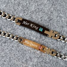 Hot Sale Stainless Steel Couple Bracelets Her King & His Queen - Valentine gift
