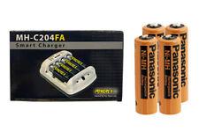 Powerex MH-C204FA Charger & 4 x AA NiMH Panasonic 2000 mAh Batteries