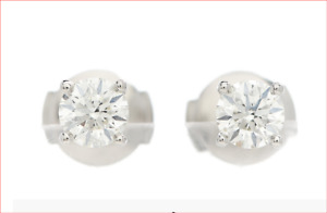 Tiffany & Co Platinum Diamond Stud Earrings with Pouch & Boxes .84 ctw.