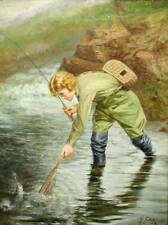 Lady Fly Fisherman in Stream by H Carling