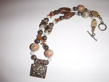 JRI Mexico Sterling 925 Necklace Jasper and Pottery Stones Toggle Clasp