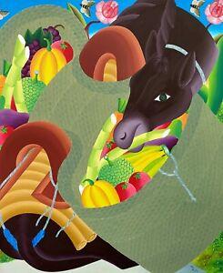 "ORIGINAL PAINTING FAMOUS HAITIAN ART AUDES SAUL HAITI DONKEY ""BOURIK"" 48x40"