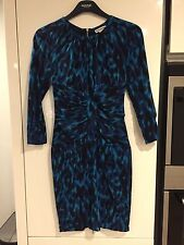 Whistles Blue Knee Length Dress with Leopard Print Effect Print - UK 8
