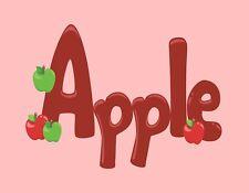 METAL MAGNET Red Word Apple Apples Pink Background Food Fruit MAGNET