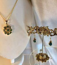 Emerald 18ct Sterling Pendant,Earrings,Val.$1375.