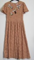 M&S Per Una Bird Embroidered Lace Occasion Party Skater Dress  -  Size 6 - 20