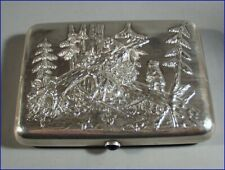 Objective 19th Century Chinese Wang Hing Solid Silver Card Case Box With Hallmark Asia