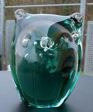 Seltene Murano Glas Eule smaragd 60er / 70er Jahre mit Luftblasen 1,24 kg !!