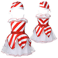 Kids Girls Christmas Costume Mesh Tutu Dress with Hat Outfit Cosplay Skirt Set