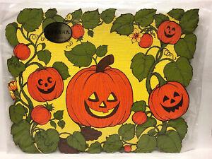 """Vintage Hallmark 8 Placemats Halloween Pumpkin 11"""" X 14"""""""