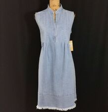 NEW Hope & Honey Dress 6 M Light Blue Denim Fringe Pocket Pleat Shift Midi $118