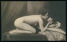 French nude woman bending smell flower perfume original c1910-20s photo postcard