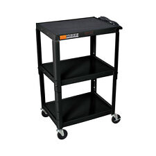 Offex W42Ae - Adjustable Height Steel A/V Cart - Three Shelves