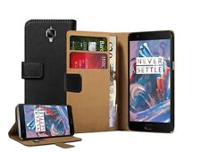 Wallet Black Leather Flip Case Cover For OnePlus 3 + 2 PROTECORS