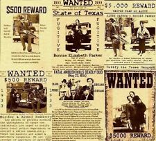 BONNIE AND CLYDE PUBLIC BARROW PARKER BANK ROB HAMER OUTLAW POSTER WANTED MURDER