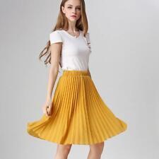Women Chiffon Pleated Skirt Vintage High Waist Summer Breathable Stylish Attires