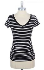 Side Shirred V Neck Thin White Striped T Shirt Short Sleeve Top Casual S M L