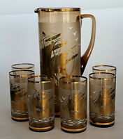 Vintage Retro Amber Gold Lemonade Pitcher Jug & 6 Drinking Glasses