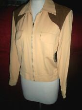 1950'S Vintage Tan Rayon Gab Ricky Jacket Calif Label & Suede Yoke S M