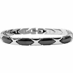 Damen Armband Keramik Edelstahl -schwarz 19,cm kürzbar