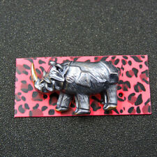 New Silver Enamel Cute Rhinoceros Charm Betsey Johnson Animal Brooch Pin Gift