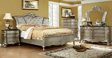 NEW Gold Finish Traditional Master Marble 5 pieces Bedroom Set w/ King Bed ICA3