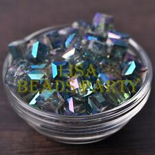 New 10pcs 10mm Cube Square Faceted Crystal Glass Loose Spacer Beads Clear Green