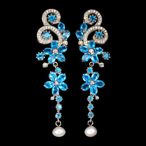 Oval Paraiba Blue Apatite Pearl Cz White Gold Plate 925 Sterling Silver Earrings