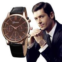 NEU Klassisch Sport Herrenuhr Leder Band Analog Quarz Uhr Armbanduhren Watch