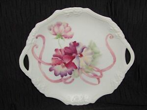ANTIQUE PORCELAIN HANDLED PLATE W/HANDPAINTED PANSIES - EXQUISITE