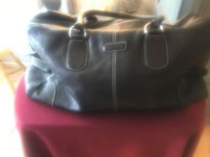Authentic Cole Haan Black Leather Duffle Weekender - Great Used Condition!