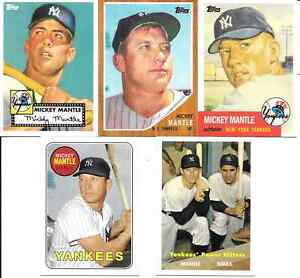 MICKEY MANTLE 2010 TOPPS CARDS MOM THREW OUT COMPLETE (5) CARD SET